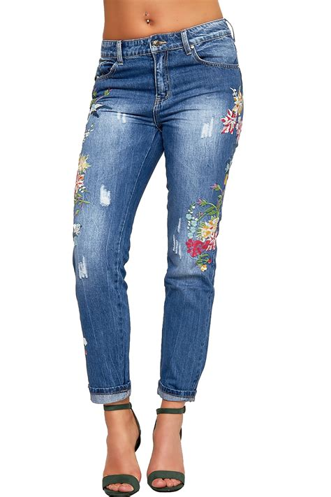 womens floral embroidered distressed denim