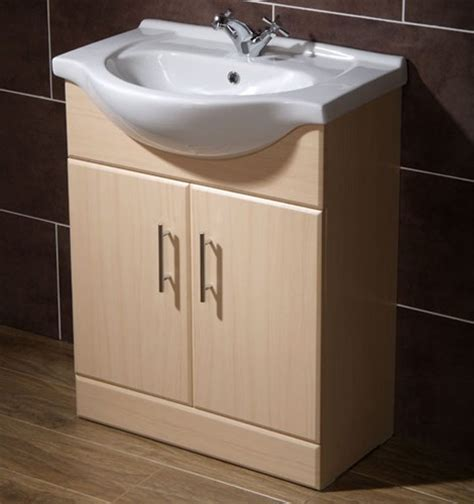 Bathroom Furniture Beech 650mm Beech Vanity Unit Ceramic Basin Fully Assembled