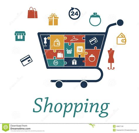design online marketplace shopping concept puzzles with a cart and icons stock