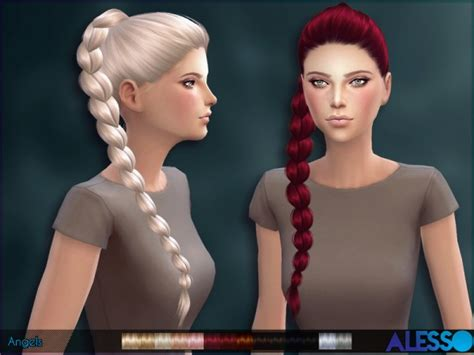sims 4 female braids sims 4 hairs the sims resource angels hairstyle by alesso