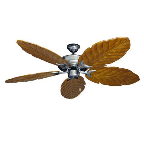 leaf blade ceiling fan brushed nickel raindance 100 series ceiling fan real wood carved leaf blades