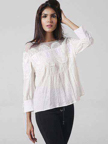 Cameroon Blouse sleeve lace hollow patchwork shirts cheap newchic