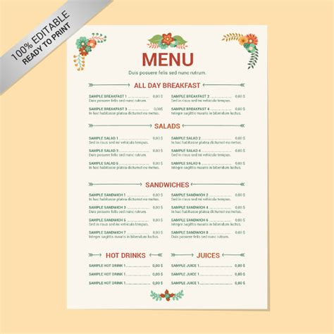 menu layout on word blank restaurant menu template best agenda templates