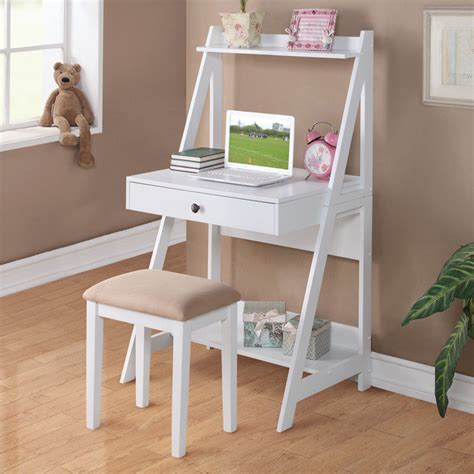 small desk 2 pc white student small writing desk and stool w large