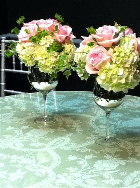 wine glass wedding flower arrangements a repurposed