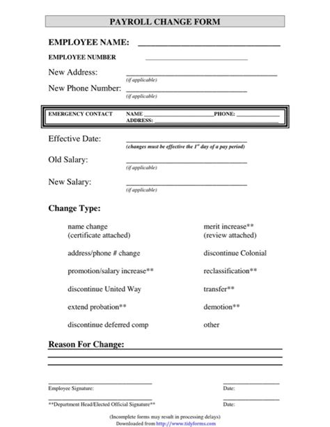 payroll status change form template payroll change form templates free templates in doc ppt
