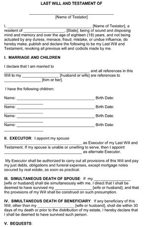 Free Last Will And Testament Templates by Last Will And Testament Template Free Printable Form