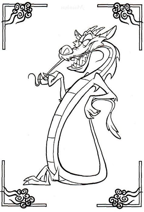 mushu coloring pages mulan cartoon coloring pages