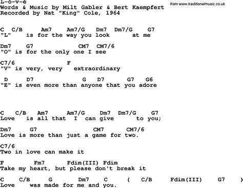 L Chord by Song Lyrics With Guitar Chords For L O V E Nat King Cole