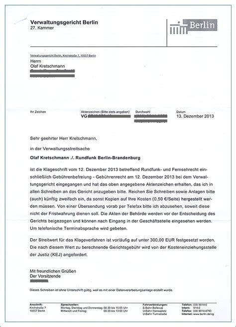 Vorlage Antrag Verwaltungsgericht Olaf Kretschmann Vs Rundfunkbeitragspflicht Der Info Zum Gesamten Klageverfahren