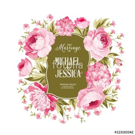 Wedding Card Border Vector by Quot Wedding Card With Blooming Flowers Isolated White