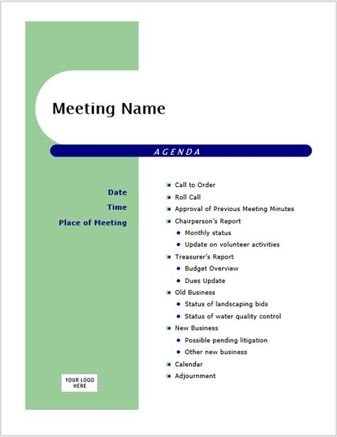 Creative Meeting Agenda Template creative meeting agenda sle template guidelines