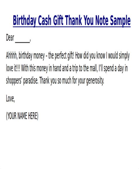 Thank You Note Template Graduation Money Sle Thank You Note For Money 7 Exles In Word Pdf