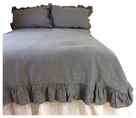 gray ruffle bedding ruffle grey linen duvet cover twin twin extra large