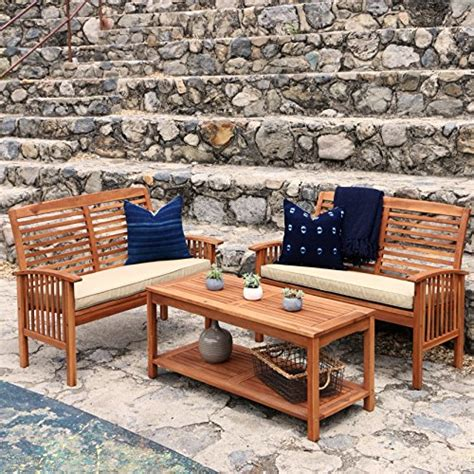 we furniture solid acacia wood 3 patio chat set