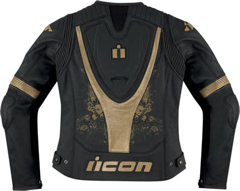 black and gold motorcycle jacket icon womens overlord prime leather motorcycle jacket