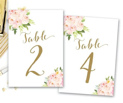 free printable table number cards wedding printable table numbers floral floral table numbers boho