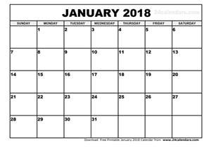 Calendar 2018 January Printable January 2018 Calendar Monthly Calendar 2017