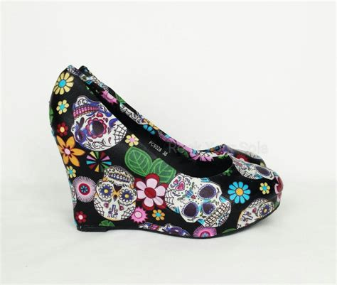 skull shoes for day of the dead shoes sugar skulls wedges shoes