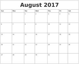 Best Calendar Templates by Best And Free August 2017 Calendar Printable Template
