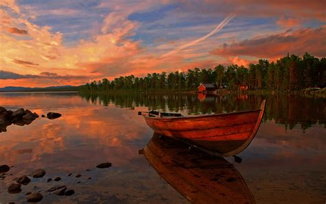 sunset lake boat red clouds  wallpaperscom
