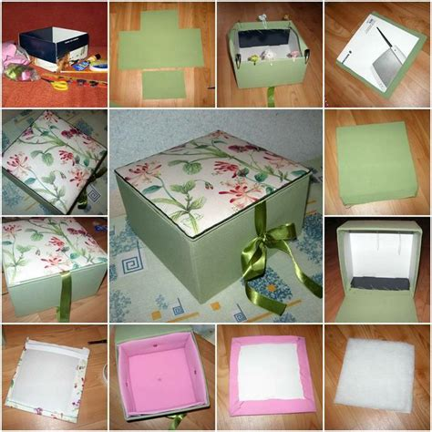 diy storage box ideas how to make beautiful cardboard textile storage box step