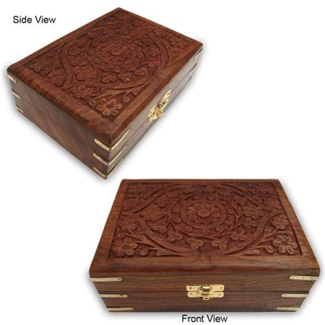Wooden Jewelry Box Handmade - best price handmade carving wooden jewelry box with brass