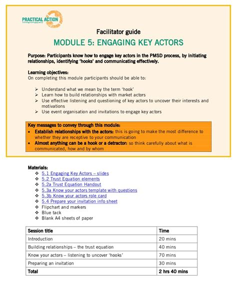 facilitator guide template step 5 materials facilitator guide