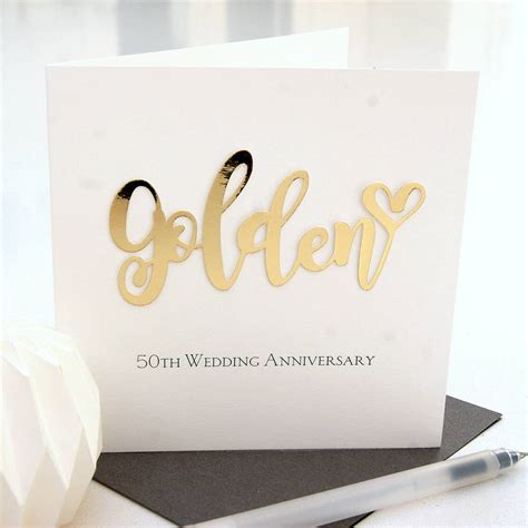 50th Wedding Anniversary Cards by Golden 50th Wedding Anniversary Card By The Hummingbird