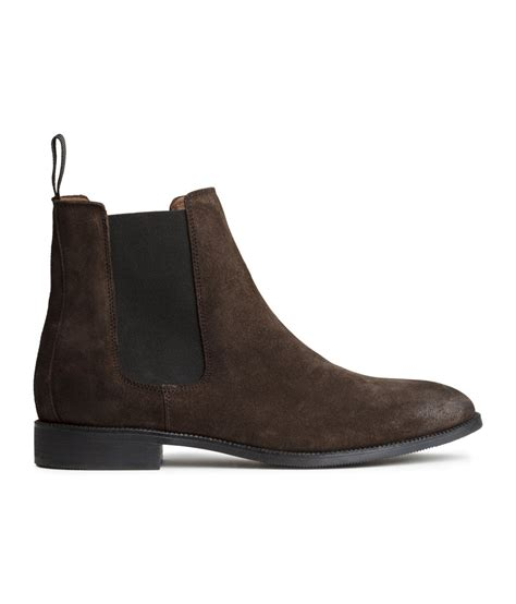 hm boots h m leather chelsea boots in brown for lyst