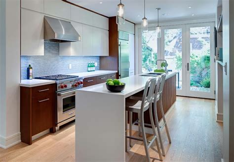 narrow kitchen design with island narrow kitchen with island and walnut cabinets