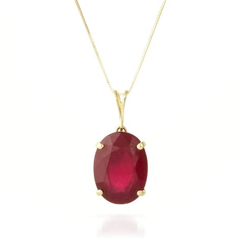 Ruby 5 70 Ct 14k gold oval necklace with 7 70ct ruby pendant gj4170y