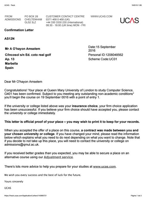 Confirmation Letter Ucas Acceptance Letter Qmul By Alberto Ohayon Issuu