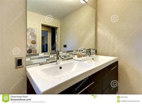 home interior bathroom mirror and sink stock photo image modern bathroom large double white sink with mirror stock