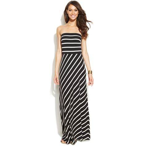 Imported Stripeca Dress inc international concepts strapless striped maxi dress in black lyst
