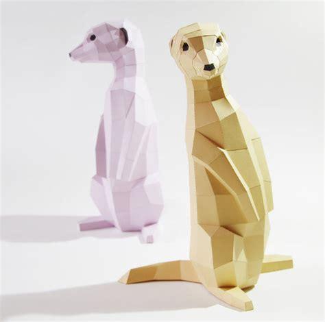 Origami Meerkat - geometric meerkat sculptures paper animal