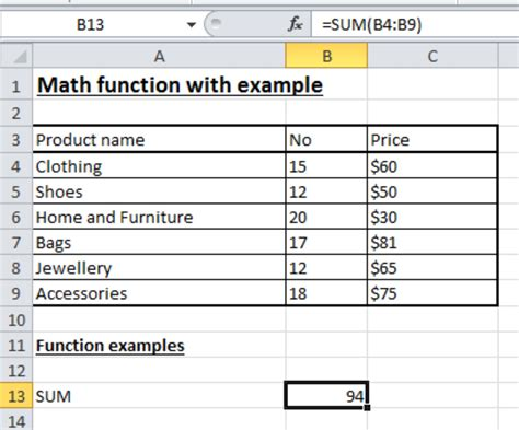 Mat Excel by Math Functions In Excel 2010 Tutorials Tree Learn