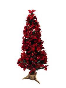 5 pre lit fiber optic red poinsettia christmas tree ebay