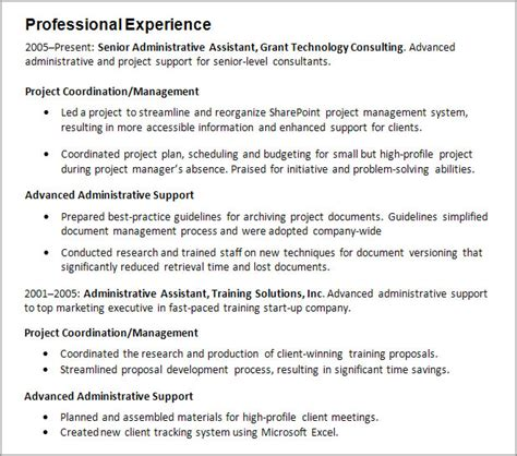 Professional Experience Resume Exle by Work Experience Resume Guide Careeronestop