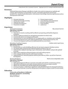 Manager Resume Operations Manager Resume Sle My Resume