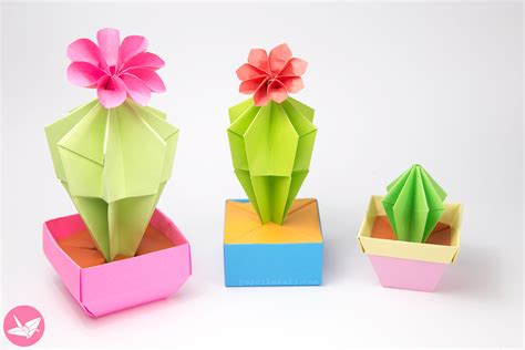 Origami Flower For - origami cactus flower tutorial paper kawaii