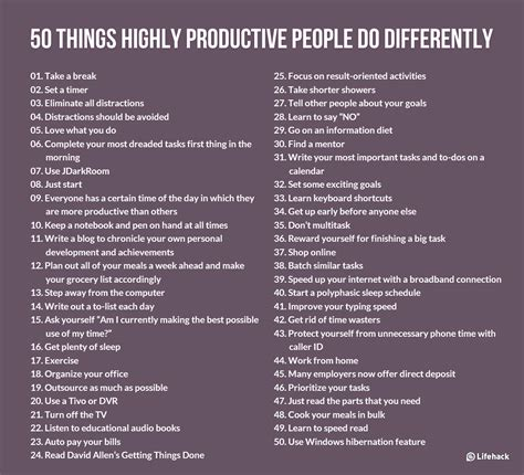 50 things highly productive do differently