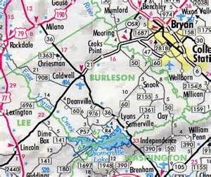 burleson county map hotels motels