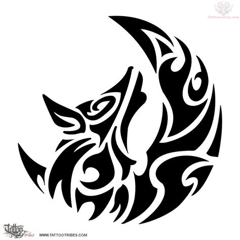 tribal wolf tattoo tribal wolf and moon