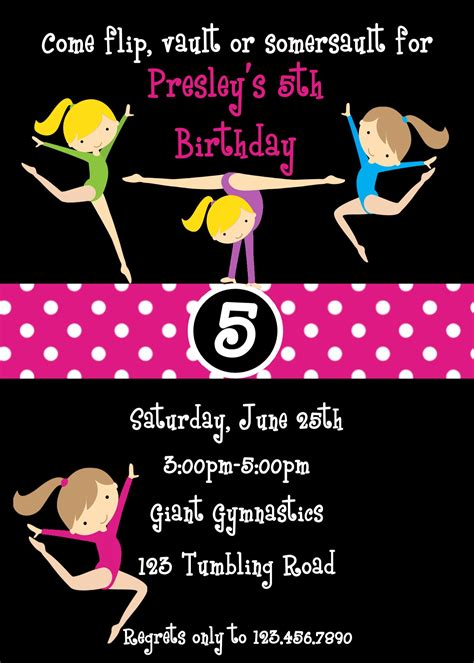 Gymnastic Birthday Invitation Templates Gymnastics Birthday Invitation Templates