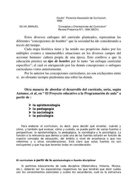 Modelo Curricular Racionalista Concepciones Curriculares