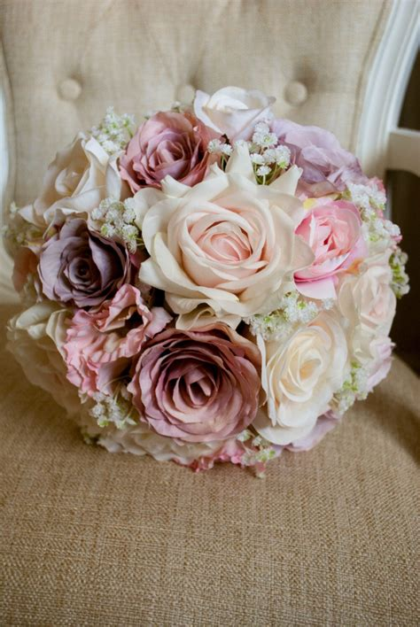 Wedding Bouquet Made Of Donuts by Vintage Style Pink Ivory And Lilac Silk Wedding Bouquet