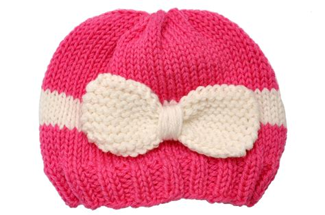 how to knit a baby hat havesome bow knitted baby hat white pink