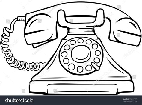 drawing images for line drawing vintage phone vector illustration stock