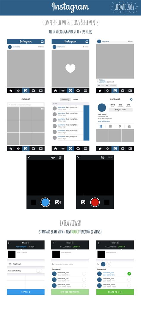 layout instagram es gratis free instagram vector ui ios7 2014 marinad